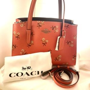 NWT - Coach Floral Print Leather CHARLIE Carryall